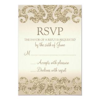 Gold Glitter Look Wedding RSVP Cards