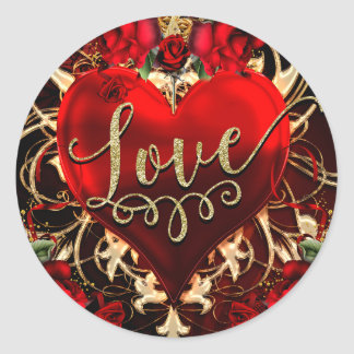 Gold Glitter Love Heart & Red Roses Party Favor Classic Round Sticker