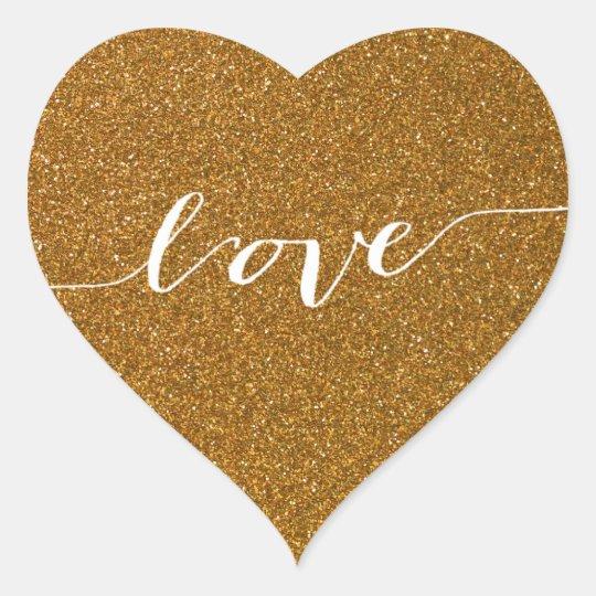 Gold Glitter Love Heart Wedding Favor Sticker