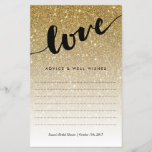 """Gold Glitter Love Script Bridal Shower Advice<br><div class=""""desc"""">This pretty gold glitter advice card is perfect for your bridal shower. Use the template form to add your personalization at the bottom.. We suggest printing on &quot;value paper&quot; due to the ease of writing on the matte surface. Tie a pretty ribbon around the cards at the end of the...</div>"""