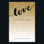 """Gold Glitter Love Script Bridal Shower Advice Flyer<br><div class=""""desc"""">This pretty gold glitter advice card is perfect for your bridal shower. Use the template form to add your personalization at the bottom.. We suggest printing on &quot;value paper&quot; due to the ease of writing on the matte surface. Tie a pretty ribbon around the cards at the end of the...</div>"""
