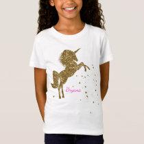 Gold Glitter Magical Unicorn & Stars Personalized T-Shirt