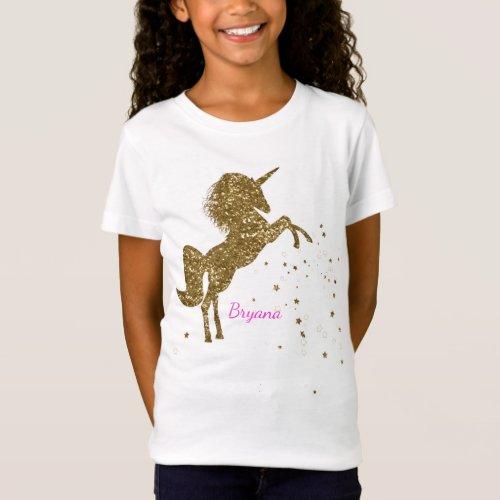 Gold Glitter Magical Unicorn  Stars Personalized T_Shirt