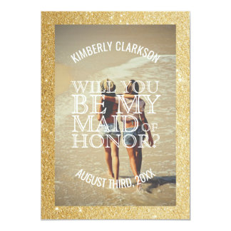 Gold Glitter Maid of Honor Photo Card