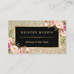 Hair salon business cards templates zazzle gold glitter makeup artist hair salon floral wrap business card colourmoves