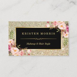 Gold Glitter Makeup Artist Hair Salon Floral Wrap Business Card