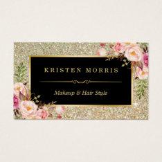 Gold Glitter Makeup Artist Hair Salon Floral Wrap Business Card at Zazzle