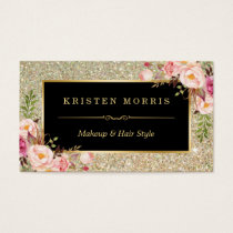 Gold Glitter Makeup Artist Hair Salon Floral Wrap Business Card