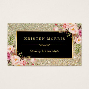 Hair and makeup business cards templates zazzle gold glitter makeup artist hair salon floral wrap business card colourmoves Images