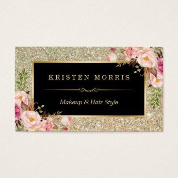 Beach Themed Gold Glitter Makeup Artist Hair Salon Floral Wrap Business Card