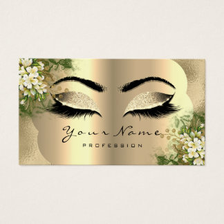 Gold Glitter Makeup Artist Lashes White Floral Business Card