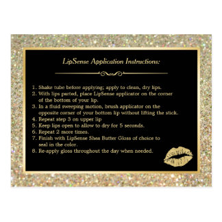 Gold Glitter Makeup Lips Instruction Tips Postcard