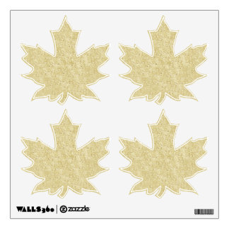 Gold Glitter Maple Leaves Wall Decals