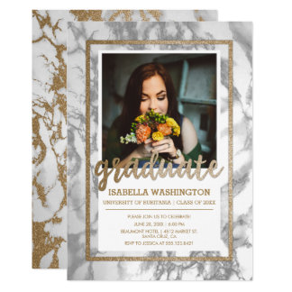 Gold Glitter Marble Script Photo Graduation Party Card