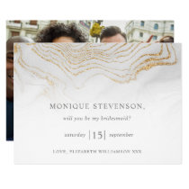 Gold Glitter Marble Will You Be My Bridesmaid? Invitation