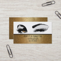 Gold Glitter Mascara or Eyelashes Business Card