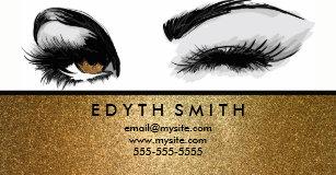 gold glitter mascara or eyelashes business card - Eyelash Business Cards