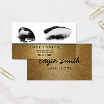 Gold Glitter Mascara or Eyelashes Business Card