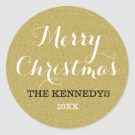 Gold Glitter Merry Christmas Holiday Classic Round Sticker