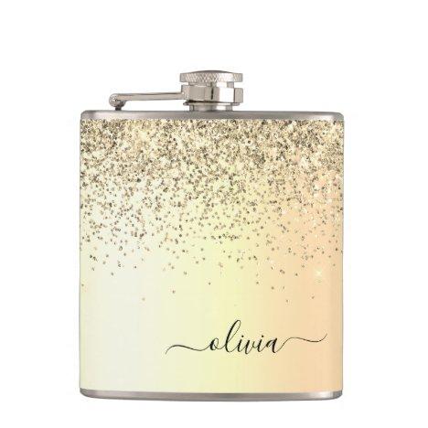 Gold Glitter Metal Monogram Glam Name Flask