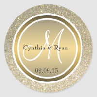Gold Glitter & Metallic Bronze Wedding Monogram Classic Round Sticker