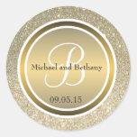Gold Glitter & Metallic Bronze Wedding Monogram Classic Round Sticker