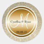 Gold Glitter & Metallic Copper Wedding Monogram Classic Round Sticker