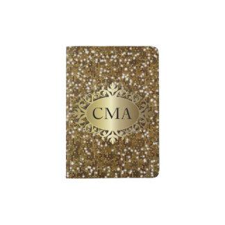 Gold Glitter Metallic Design | DIY Initials Passport Holder