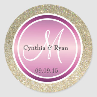Gold Glitter & Metallic Purple Wedding Monogram Classic Round Sticker