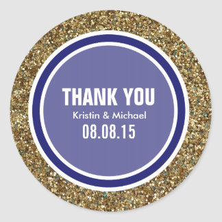 Gold Glitter & Midnight Blue Thank You Label