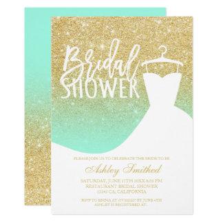 Gold glitter mint elegant chic dress Bridal shower Card