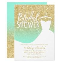 Gold glitter mint elegant chic dress Bridal shower Invitation