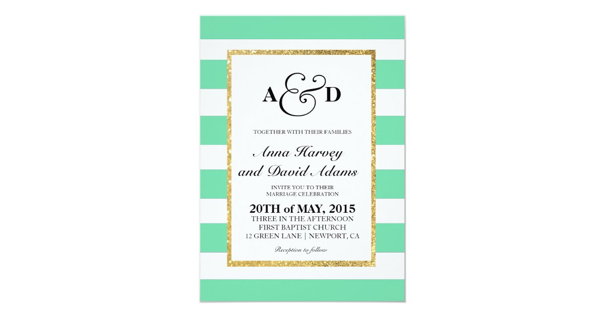 Mint Green And Gold Wedding Invitations: Gold Glitter Mint Green Stripes Wedding Invitation