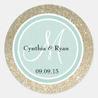 Gold Glitter & Mint Green Wedding Monogram Classic Round Sticker