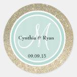 Gold Glitter & Mint Green Wedding Monogram Stickers