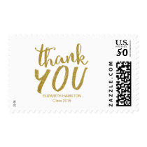 Gold Glitter Modern Script Grad Thank You Postage