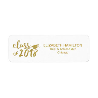 Gold Glitter Modern Script Graduation Party Label