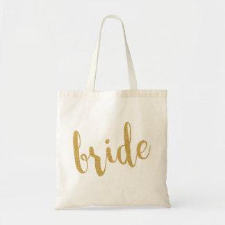 Gold Glitter Modern Text Design-Bride Tote Bag