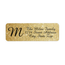 Gold Glitter Monogram Address Labels