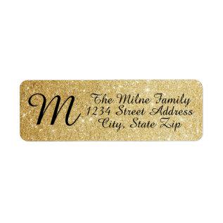 Gold Glitter Monogram Address Labels at Zazzle