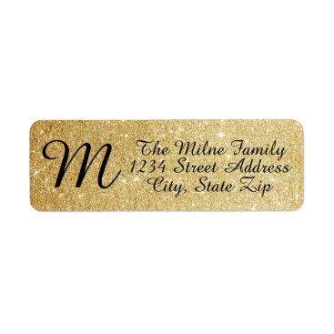 Midesigns55555 Gold Glitter Monogram Address Labels