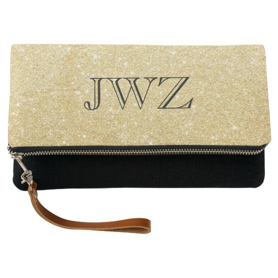 Gold Glitter Monogram Intial Clutch