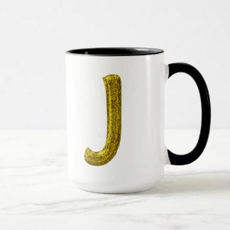 Gold Glitter Monogram J Mug