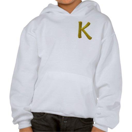 Gold Glitter Monogram K Sweatshirts