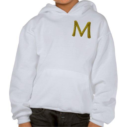 Gold Glitter Monogram M Hooded Sweatshirt