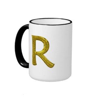 Gold Glitter Monogram R mug