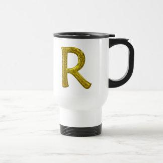 Gold Glitter Monogram R Travel Mug