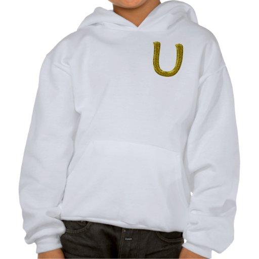 Gold Glitter Monogram U Hooded Sweatshirt