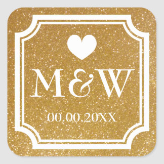 Gold glitter monogram wedding favor stickers seals