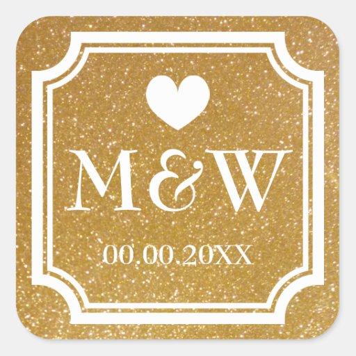 Gold glitter monogram wedding favor stickers seals thumbnail